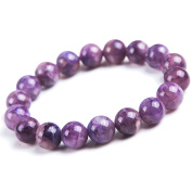 Genuine Natural Purple Charoite Gemstone Crystal Round Bead Stretch Woman Bracelet 11mm