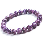9mm Genuine Natural Purple Charoite Gemstone Round Beads Stretch Bracelet