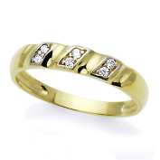 14K White and Yellow Gold Two Tone CZ Concaved Anniversary Ring Wedding Band