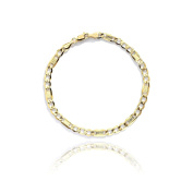 10k Yellow Gold Hollow Bar Figaro Chain Bracelet and Anklet for Women and men, 5mm