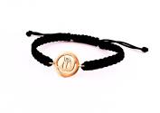 Allah 14k Yellow Gold Bracelet with Single Diamonds on Adjustable Nylon Thread