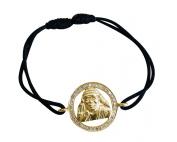 Om Sai 14k Yellow Gold Bracelet studded with Diamonds on Adjustable Nylon Thread