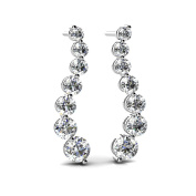 3.00 ct. Round Diamond Graduated Seven Stone Wave Shaped Journey Drop Earrings