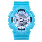 Sanda Teens Youth Sports Watch Waterproof Shock Resist Dual Time Analogue Digital Light Wristwatch - Blue