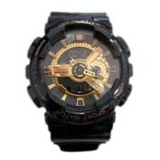 Sanda Teens Sports Watch Waterproof Shock Resist Dual Time Analogue Digital Light Wristwatch - Black/Gold