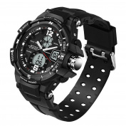 50 ATM High Quality Multifunction Junior's Students Quartz Outdoor Sports Digital Dual Time Waterproof Watches Black Ages 11-20