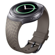 Bolayu Luxury Silicone TPU Watch Band Strap For for Samsung Galaxy Gear S2 SM-R720 Brown