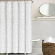 Echelon Home Greek Key Shower Curtain, Light Grey