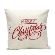 Sandistore Vintage Christmas Letter Sofa Bed Home Decoration Festival Pillow Case Cushion Cover
