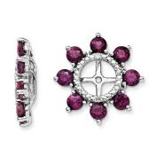 .925 Sterling Silver Genuine Diamond & Rhodolite Garnet Earring Jackets