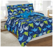 WPM 8 Piece FULL Comforter Set Kids/Teens Blue Water Shark print Design Luxury Bed In a Bag Furry Decorative TOY Pillow Included-Shark