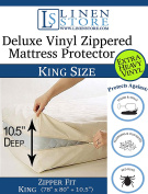 Deluxe Vinyl Zippered Mattress Protector Cover, Extra Heavy, Bed Bugs - Dustmites Shield, Waterproof Protector, Hypoallergenic, 200cm x 200cm King