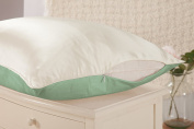 THXSILK 19 momme Silk Pillowcase for Hair and Skin Twin Size 20x27, Ivory White + Dark Sea Green