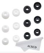 ALXCD Eartips for Sol Republic Jax In-Ear Headphone,SML 3 Sizes 6 Pair Silicone Replacement Ear Tips Gel Cushion, Fit for Sol Replublic Earphone Jax [Black/White]