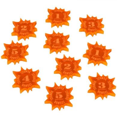 Explosive Damage Tokens, Numbered 1-5, Fluorescent Orange (10)