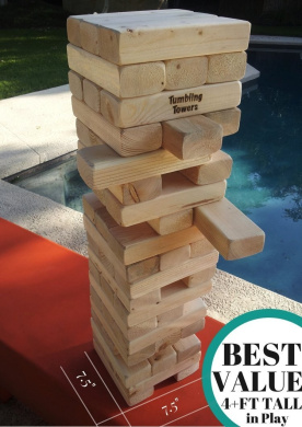Giant Tumbling Towers Game Blocks up to 4+FT to +1.5m & Includes Wooden Case