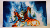 Goku blue Dragonball super Z DBZ TCG playmat, gamemat 60cm wide 36cm tall for trading card game smooth cloth surface rubber base