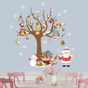 Looching Merry Christmas Santa Snowman Tree Removable Wall Stickers Murals For Shop Window Showcase Living Room Bedroom Kids Room Office Decor Glass DIY Home Art Decor Coffee House