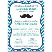 Little Man, Baby Shower, Invitations, Chevron Stripes, Moustache, Navy, Blue, Aqua, Hipster, Boys, 10 Custom Printed Invites with Envelopes,,