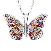 925 Sterling Silver Butterfly Necklace Pendant Polymer Clay Handmade Jewellery, 42cm