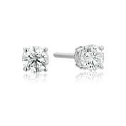 IGI-Certified 14k Gold Round-Cut Diamond Stud Earrings