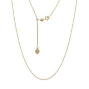 10K Fine Gold Adjustable Wheat Chain necklace, 60cm