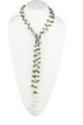 HinsonGayle 2-Strand Gemstone & Genuine Freshwater Cultured Pearl Lariat Necklace