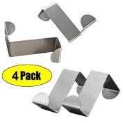 Mziart Pack of 4 Stainless Steel Reversible Over Door Cabinet Drawer Hooks Office Kitchen Towel Coat Hooks Rack, Silver