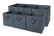 Sodynee Foldable Cloth Storage Cube Basket Bins Organiser Containers Drawers, 6 Pack, Grey