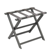 Gate House Furniture Dark Grey Eco-Poly Folding Luggage Rack with Driftwood Weave Straps