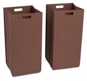 Internet's Best Collapsible Laundry Hamper | Set of 2 | Dirty Clothes Sorter with Handles | Magnetic Side | Easy Storage | Folding | Brown