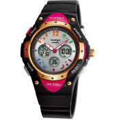 WISE® 2001ad New Arrival PAS Kids Teenage Girls Dual Time Colourful Dial Waterproof 100m Sports Casual Wrist Watches with Bling Bling Moon Star Pattern Classic Black