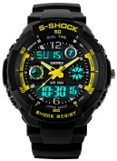Fanmis Sports Watches Multifunction Dual Time Led Light Waterproof Dual Time Alarm S Shock watch Yellow