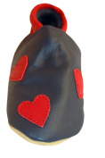Three Little Imps Handmade Soft Leather Toddler Shoes - Red Hearts on Navy Blue 18 - 24m