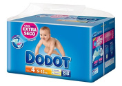 Dodot - Baby Nappies, Size 4, 9 - 15 kg - Up to 12h Dry - 88 Units