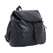 DonDon Women's Backpack Synthetic Leather quilted Black