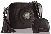 FERETI Handbag clutch Dark Brown with matching coin purse woven chain 3D lion Shoulder Bag