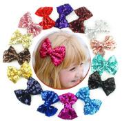15pcs 7.6cm Boutique Bling Sparkly Sequins Hair Bows Nylon Mesh Ribbon Headbands for Party Girls Kids Children Alligator Hair Clips