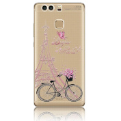 Huawei P9 Plus Case, Vandot TPU Silicone Gel Soft Clear Case Cover for Huawei P9 Plus, [Non-Slip Scratch Resistance] Ultra Thin Transparent Clear Colourful Cartoon Printing Pattern Practical Protective Back Cover- Eiffel Tower Pink Flower Bike