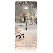 For Huawei P9 Plus Case, Vandot Ultra Thin Soft TPU Silicone Back Case [Non Slip] with Scratch-Resistant Transparent Clear Colourful Cartoon Printing Pattern Practical Protective Back Cover for Huawei P9 Plus- Night Streetlight Snow Trees