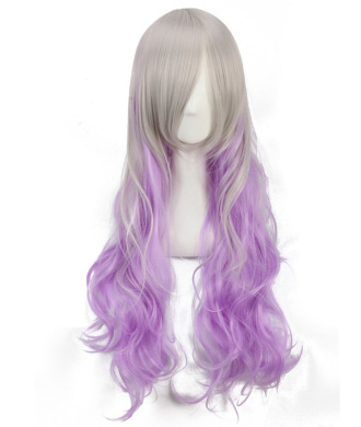 Women's Light Purple Multicoloured Animotion Fancy Dress Long Curly Cosplay Wigs with Cap