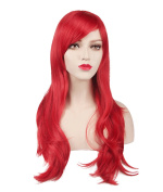 Women's Red Animotion Fancy Dress Long Curly Cosplay Wigs with Cap