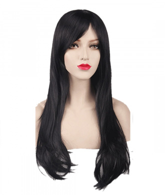 Women's Black Animotion Fancy Dress Long Curly Cosplay Wigs with Cap