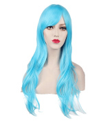 Women's Sky Blue Animotion Fancy Dress Long Curly Cosplay Wigs with Cap