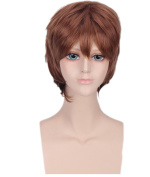 Men's Light Brown Animotion Fancy Dress Short Cosplay Wigs with Cap