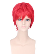 Men's Red Animotion Fancy Dress Short Cosplay Wigs with Cap