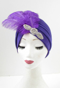 Purple Silver Feather Turban 1920s Headpiece Flapper Vintage Cloche Diamante 908 *EXCLUSIVELY SOLD BY STARCROSSED BEAUTY*