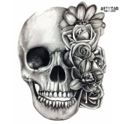 "Temporary Tattoo (water transfert) ""Skull & Roses Monochrome"" - ArtWear Tattoo - B9925 M"