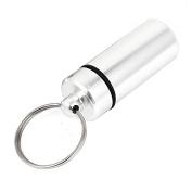Keychain Pill Bottles - TOOGOO(R)2pcs Aluminium Waterproof Pill Bottle Drug Holder Container Keychain Silver