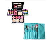 DSstyles 7 Pcs Professional Makeup Kabuki Brushes Kit - Blue and 39 Colours All in One Makeup Palette Kit with Eyeshadow, Face Powder and Blush